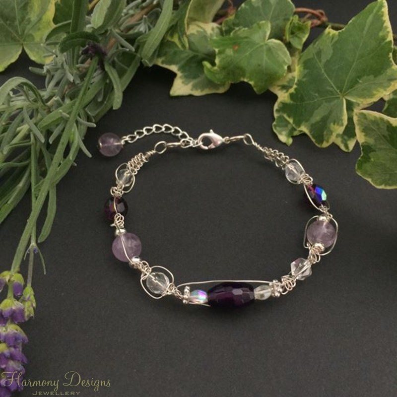 Picture of Limited Stock - Delicate -  Amethyst - Agate - Czech Fired Glass Crystal  - Wire Worked - Sliver Plated - Bracelet (B1)