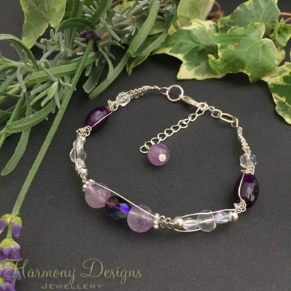 Picture of Limited Stock - Delicate - Amethyst - Agate - Czech Fired Glass Crystal - Wire Worked - Sliver Plated Bracelet (B2)