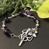 Picture of Elegant - Dark Purple  - Amethyst - Rosary Link  Wire Work - Silver Plated - Fancy Floral Toggle Clasp - Bracelet (B3)