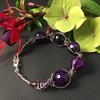 Picture of Limited Stock - Chunky -  Agate - Silver Plated And Purple Coloured -  Wire Worked Bracelet (B4)