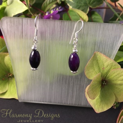 Picture of Limited stock - Attractive  - Purple Faceted Agate  - Silver Plated - Earrings (E3)