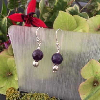 Picture of Elegant - Dark Purple - Amethyst - Silver plated - Earrings (E5)