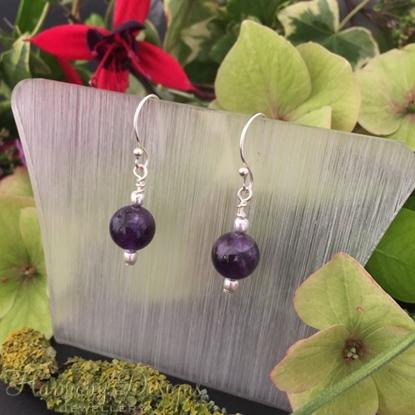 Picture of Dainty - Dark Purple - Amethyst - Silver plated - Earrings (E6)
