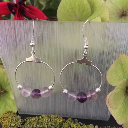 Picture of Stylish - Fluorite - Silver Plated - Hoop Style - Earrings - (E7)