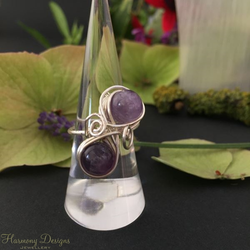 Picture of Limited Stock - Distinguished - Ornate - Amethyst Pears - Silver Plated - Wire Work - Ring - (R31)