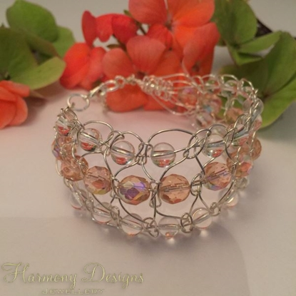 Picture of One Only -  Intricate -  Gemstone Abundant -  Clear Quartz -  Czech Fire Polished Glass  - Sliver Plated - Wire Work - Cuff Style Bracelet (B5)