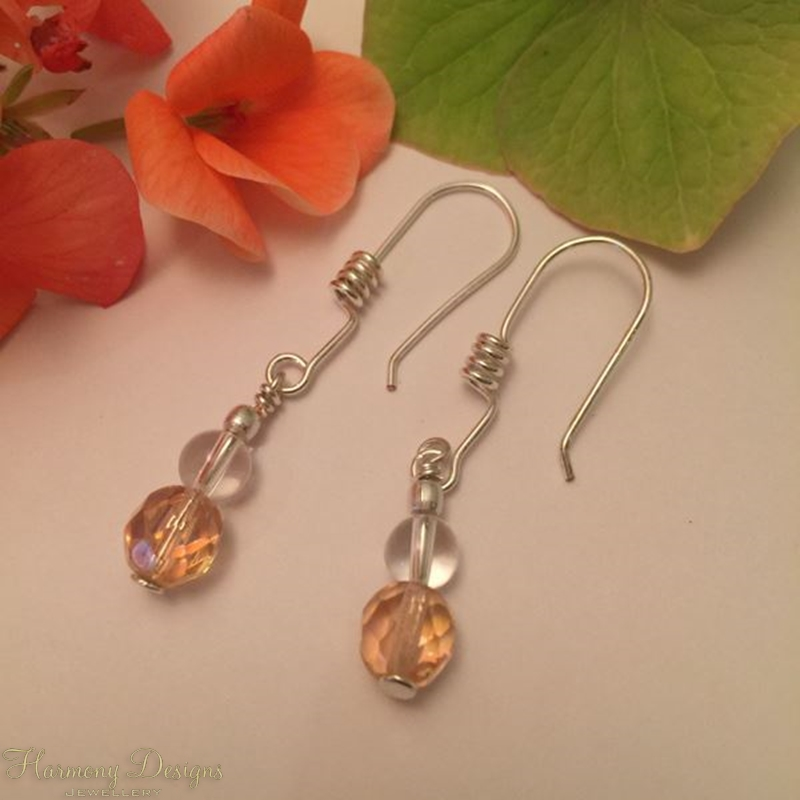 Picture of Glistening - Clear Quartz - Czech Fire Polished Glass - Silver Plated Spiral Detail Earring Hooks - Earrings (E8)