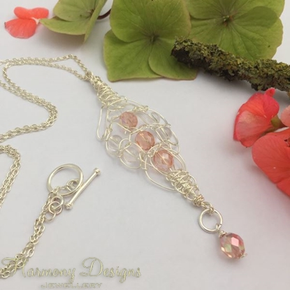 Picture of Intricate - Glistening - Free Formed Wire Work - Clear Quartz - Czech Fire Polished Glass  - Sliver Plated - Necklace (N9)