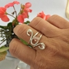 Picture of Adorable - Czech Fire Polish Luster Bead -Subtly Sparkly  - Whimsical  - Hand Forged  - Wire Work  - Sliver Plated - Adjustable - Ring - (R21)