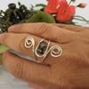 Picture of Subtly Sparkly  - Whimsical  - Smoked Quartz - Czech Fire Polished Glass - Crisp Earth Tones - Hand Forged  - Wire Work  - Sliver Plated - Adjustable -  Ring (R20)