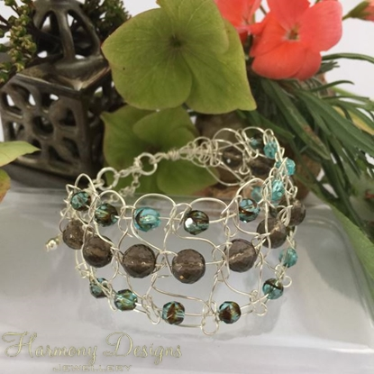 Picture of One Only  - Intricate  - Gemstone Abundant -  Smoked Quartz -  Czech Fire Polished Glass  - Sliver Plated - Wire Work - Cuff Style Bracelet (B6)