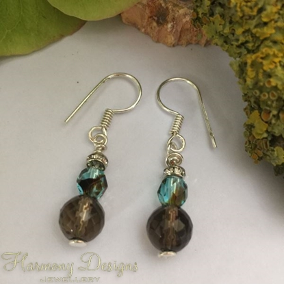 Picture of Smoked Quartz - Czech Fire Polished Glass - Crisp Earth Tones  - Subtly Sparkly - Silver Plated - Earrings (E9)