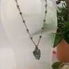 Picture of SOLD - Distinguished - One Only - Intricate Rosary Linking  - Naturally Stunning - Apatite And Smokey Quartz - Unique Quartz Geo Cut - Wire Weaving - Necklace - (N30)