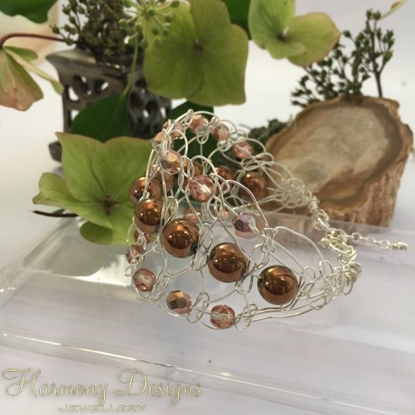 Picture of One Only - Intricate  - Gemstone Abundant -  Haematite -  Czech Fire Polished Glass  - Sliver Plated - Wire Work - Cuff Style Bracelet (B7)