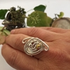 Picture of One Only - Ornate - Swirl -  Free Form  - Celebrity Crystals - Wire Worked - Sliver Plated - Adjustable - Ring - (R15)