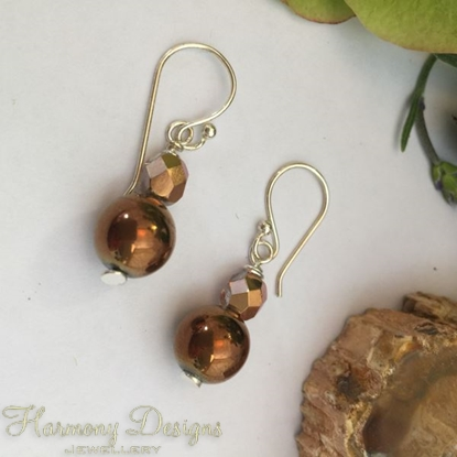 Picture of Striking-  Haematite -  Czech Fire Polished Glass  - Sliver Plated - Earrings - (E10)