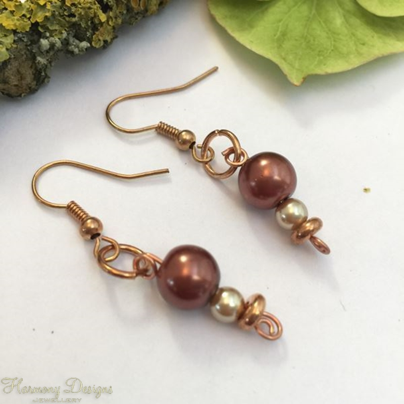 Picture of Charming - Shell Peal - Copper -  Antique Looking - Earrings (E11)