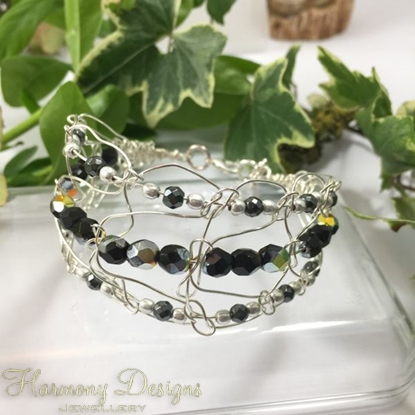 Picture of SOLD - Delicate Intricate  -  Haematite  -  Czech Fire Polished Glass  - Sliver Plated - Wire Work - Cuff Style Bracelet (B8)