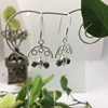 Picture of Monochrome - Haematite - Silver Plate - Three Hoop Drop - Earrings - ( E13)