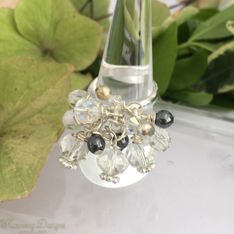 Picture of Bejewelled - Cluster Dangle -  Haematite - Clear Quartz  - Czech Fired Glass Crystal -  Preciosa Crystal - Celebrity Crystals - Wire Worked - Sliver Plated -  Adjustable - Ring - (R4)