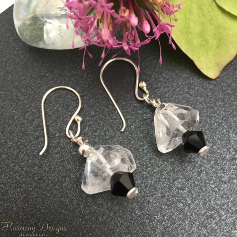 Picture of One Only - Unique - Clear Quartz Natural Nuggets - Preciosa Crystals - Elegant - Reflective - Sophisticated - Silver Plated - Earrings (E18)