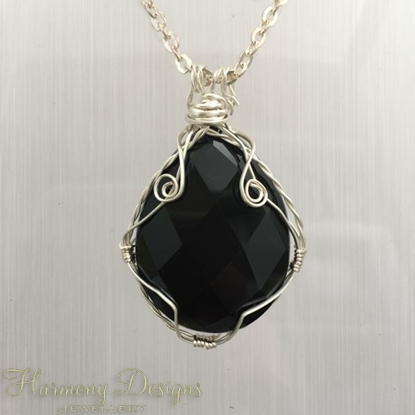 "Picture of ""SOLD""  - One Only - Elegantly Timeless - Sophisticated - Black Onyx Faceted Pear-Shaped Cabochon - Silver Plated - Wire work - Necklace (N1)"