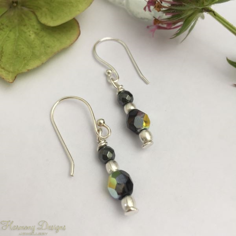 Picture of Dazzling   -  Iridescent   -  Czech Fire Polished Glass  - Sliver Plated - Earrings - (E19)