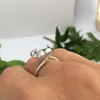 Picture of Elegant and Contemporary  -  Lustrous - Curled Wired Setting - Hand Forged - Wire Wrapping  - Sliver Plated - Ring - (R38)