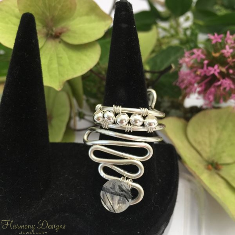 Picture of One Only - Ornate -  Eye Catching  -  Unique - Free Form  - Rutile  Quartz - Wire Worked - Sliver Plated - Adjustable - Ring -(R17)