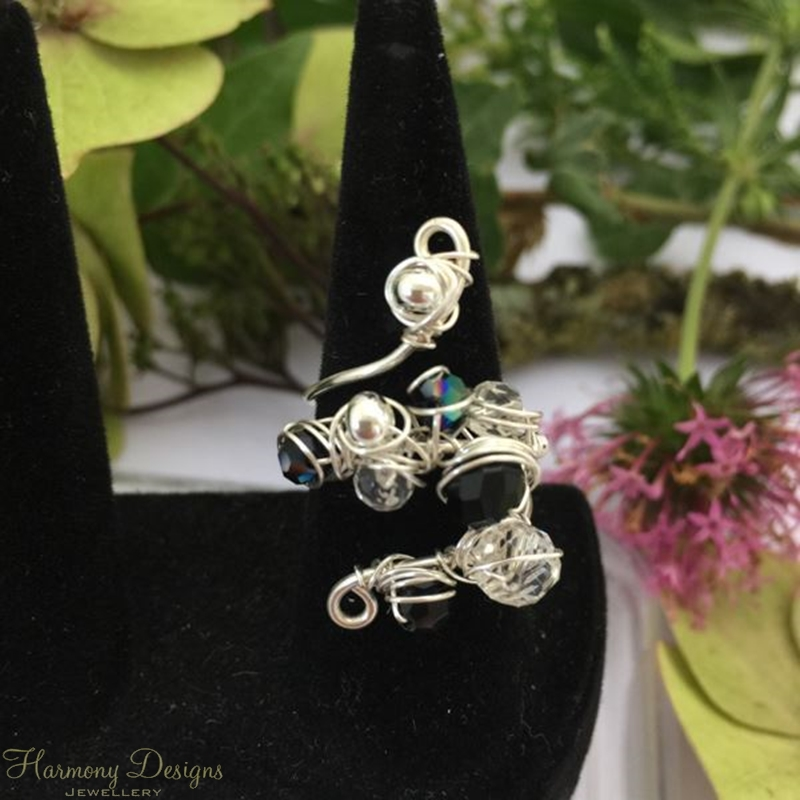 Picture of Delicately Intricate  -  Quartz -  Czech Fire Polished Glass  - Sliver Plated - Wire Work - Wire Weaving -  Expandable  - Dress Ring - (R8)