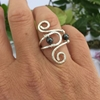 Picture of Stylish  - Whimsical  - Haematite -  Hand Forged  - Etched - Wire Weaving  - Sliver Plated - Adjustable - Ring - (R19)