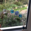 Picture of Delicate - Haematite - Blue Chalcedony - Czech Fired Glass Crystal - Wire Worked - Sliver Plated Bracelet (B10)