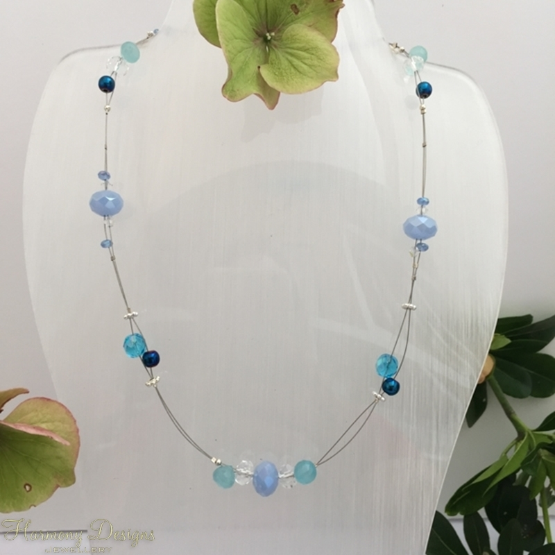 Picture of Attractive  - Haematite - Blue Chalcedony - Czech Fired Glass Crystal -  Sliver Plated - Illusion Necklace - (N37)