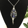 Picture of Intricate -  Distinguished  -  Lapis Lazuli -   Attractive  - Czech Fire Polished Glass  - Sliver Plated - Free Formed Wire Work - Necklace (N13)