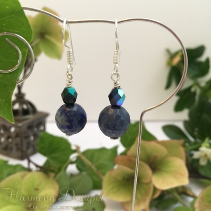 Picture of Lapis Lazuli  Faceted - Czech Fire Polished Glass - Blue Tones - Silver Plated - Earrings  (E25)