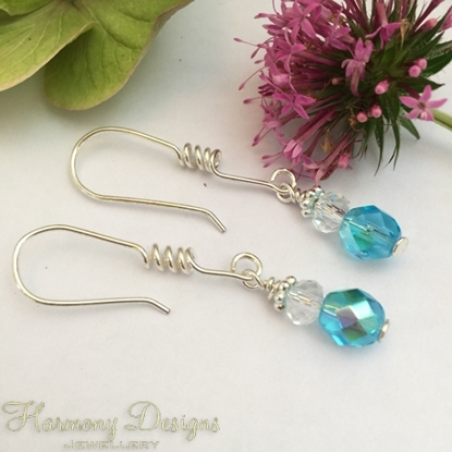 Picture of Glistening -  Czech Fire Polished Glass -   Aurora Borealis Finish - Silver Plated - Spiral Detail Earring Hooks - Earrings (E27)