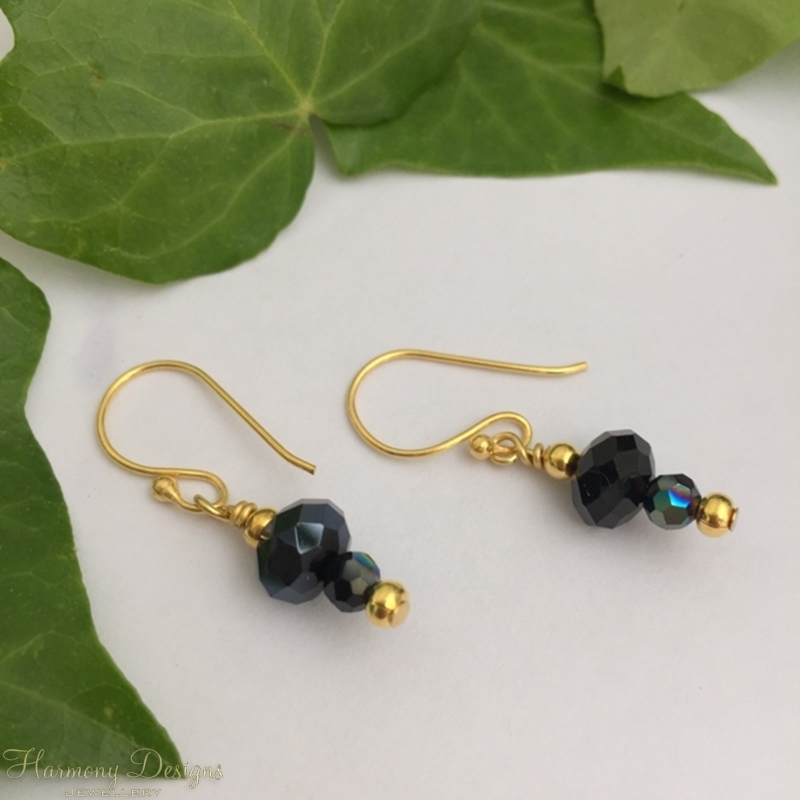 Picture of Expensive - looking - Delicate - Timeless - Elegant - Celebrity Faceted Crystal - Gold Plated - Czech Faceted Fired Glass - Aurora Borealis Finish - Earrings (E29)