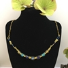 Picture of SOLD -Intricate  - Choker Inspired - Vibrant  - Czech Fired Glass Crystal - Crystal  -Gold Plated - Wire Worked - Necklace -  (N43)