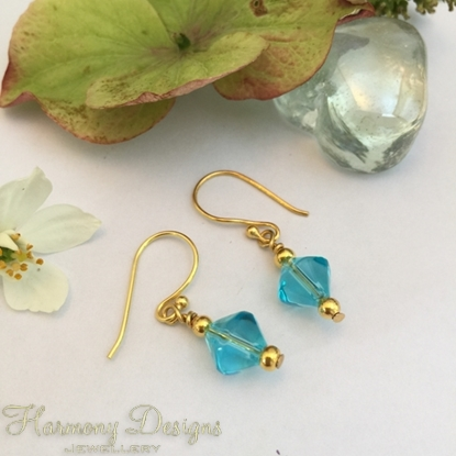 Picture of Fresh looking And Classy - Turquoise Blue - Plain Glass Bicones - Pretty - Gold plated -  Earrings (E31)