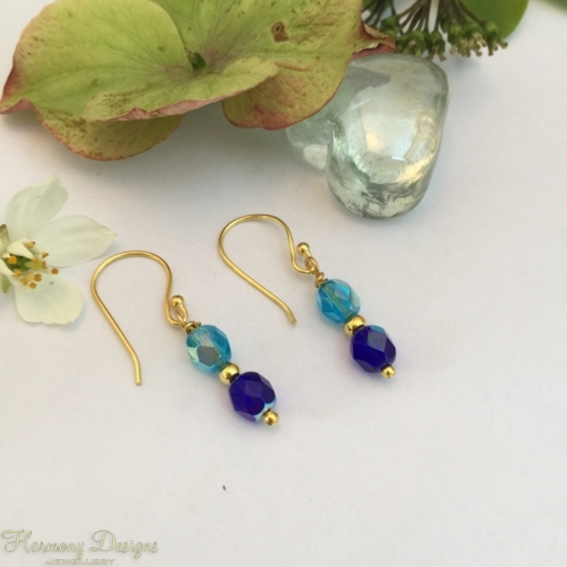 Picture of Charming - Gold Plated -  Czech Faceted Fired Round Glass - Aurora Borealis Finish - Earrings (E32)