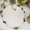 Picture of Glistening  Shimmering -  Metallic Warmth - Pyrite - Czech Fired Glass Crystal - Sliver Plated - Illusion Necklace  (N38)