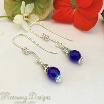Picture of Attractive  Blue - Czech Fire Polished Glass - Silver Plated Spiral Detail Earring Hooks - Earrings (E32)
