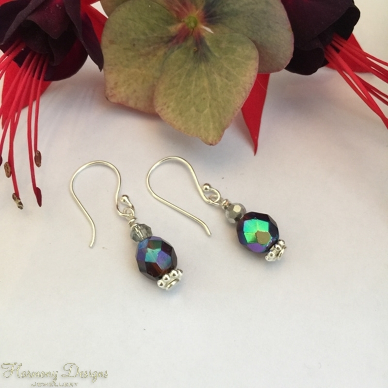Picture of Iridescent  - Simply Cute - Vintage Feel -  Amethyst And Garnet Tones  - Silver Plate - Czech Fired Glass- Earrings -  (E33)