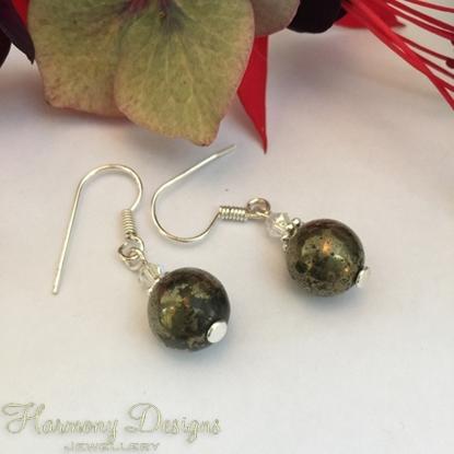 Picture of Pyrite - Metallic - Vibrant -  Preciosa Crystal Bicones - Shimmer - Silver Plate - Earrings (E34)