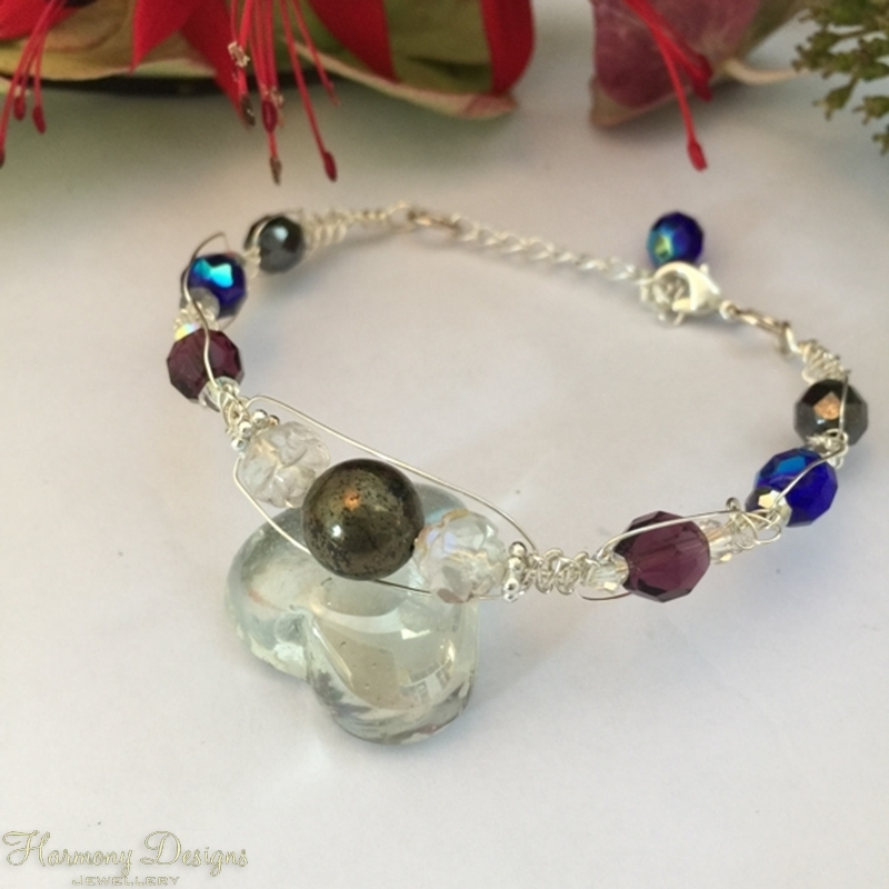 Picture of Delicate - Metallic Warmth - Pyrite - Czech Fired Glass Crystal -Wire Worked - Sliver Plated -  Bracelet (B11)