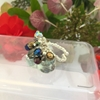 Picture of Bejeweled - Cluster Dangle - AB Czech Fired Glass Crystal - Wire Worked - Sliver Plated - Adjustable - Ring -(R2)