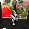 Picture of Delicately Intricate  -  Haematite -  Czech Fired Glass Crystal - Wire Worked - Sliver Plated - Wire Work - Wire Weaving -  Expandable  - Dress Ring - (R10)