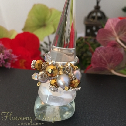 Picture of Bejeweled - Cluster Dangle - Preciosa Crystal - Pearl -  Celebrity Crystals - Wire Worked - Sliver Plated - Adjustable - Ring - (R3)