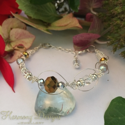 Picture of Cultured Pearl - Delicate  -  Reflective -  Celebrity Crystals - Clear Quartz  Crystal -  Czech Fired Glass Crystal -  Wire Worked - Sliver Plated -  Bracelet (B12)