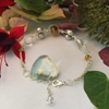 Picture of Delicate -  Pearl -  Celebrity Crystals - Clear Quartz  Crystal -  Wire Worked - Sliver Plated Bracelet (B13)